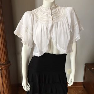Beautiful FREE PEOPLE LACE FRONT & ARM CROP TOP XS